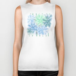 Big Flowers With Blue and Green Biker Tank