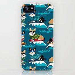 Surfing Corgis Dog summer beach hang 10 catch a wave summer dog pattern iPhone Case