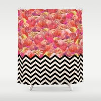 yetiland Shower Curtains featuring Chevron Flora by Bianca Green