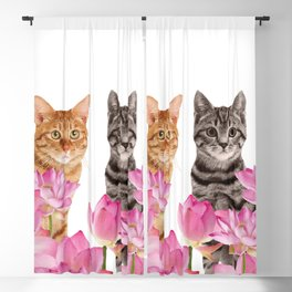 Red and Tiger cat in Lotos Flower Field Blackout Curtain