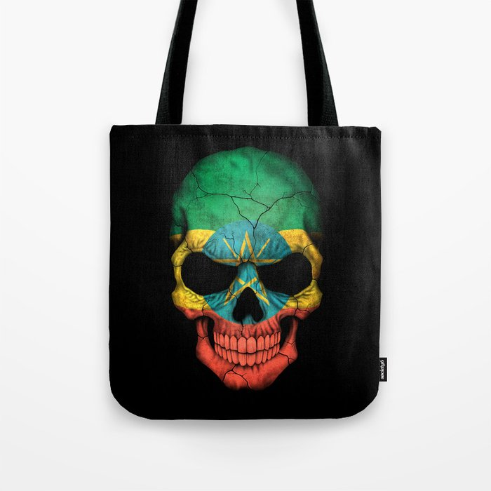Dark Skull with Flag of Ethiopia Tote Bag