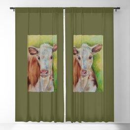 CALF Cute farm animal portrait oil painting Blackout Curtain