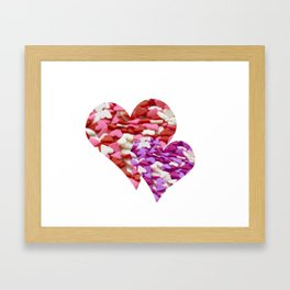 Two Candy Hearts - Pink, Red and Purple Valentine's Day Love Framed Art Print