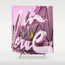"Pink ""In Love"" Sign at the Neon Museum in Las Vegas, Nevada Shower Curtain"