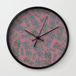 Pink, blue and green leaf pattern Wall Clock