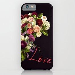 Moody romantic red love script flowers heart shape on dark purple indigo iPhone Case