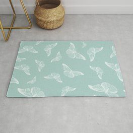 Elegant white mint green cute butterfly pattern Rug