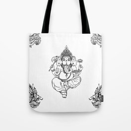 Ganesha black and white tile Tote Bag