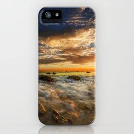 Images USA El Matador State Beach Malibu Ocean Nature Sky sunrise and sunset landscape photography Coast Stones Clouds Scenery Sunrises and sunsets stone iPhone Case