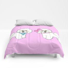 Bichon Frise friends on pink Comforters