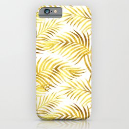 Palm Leaves_Gold and White iPhone Case