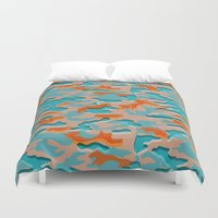 military Duvet Covers featuring Autumn military by Pimpa Gerroc