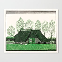 Julie de Graag - Farmhouse with thatched roof Canvas Print