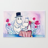 moomin Canvas Prints featuring Moomin Family by Vivian Z