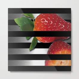 Black & Silver Overlapping Stripes & Strawberries Metal Print