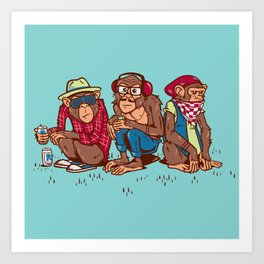 Three Wise Hipster Monkeys Art Print