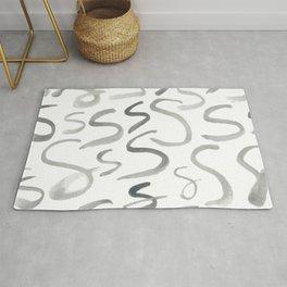 Watercolor S's - Grey Gray Rug