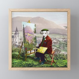 Sir Langford Labrador While Plein Air Painting Framed Mini Art Print