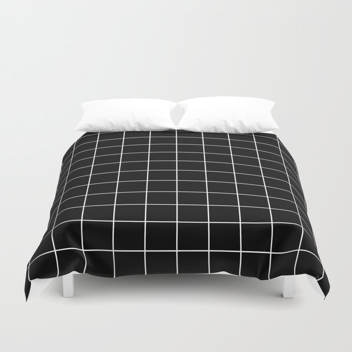 Grid Pattern Line Stripe Black and White Minimalist Geometric Stripes Lines Bettbezug
