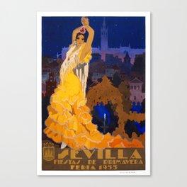 Spain 1933 Seville April Fair Travel Poster Canvas Print
