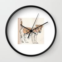 jack russell Wall Clocks featuring Jack Russell Terrier by Bryan James