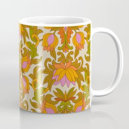 Orange, Pink Flowers and Green Leaves 1960s Retro Vintage Pattern Coffee Mug