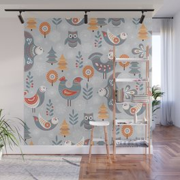 Winter seamless pattern with birds, trees, snowflakes. The Scandinavian style. Folk art. Wall Mural