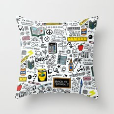 Doodled School Supplies Throw Pillow