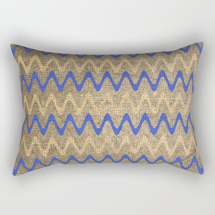 Blue and Tan Zigzag Stripes on Grungy Brown Burlap Graphic Design Rectangular Pillow