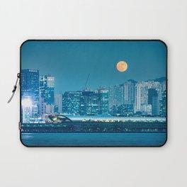 Super Moon over city skyline Laptop Sleeve