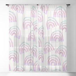 Unicorn Girls Glitter Rainbow Dream Pattern #1 (Faux Glitter) #decor #art #society6 Sheer Curtain