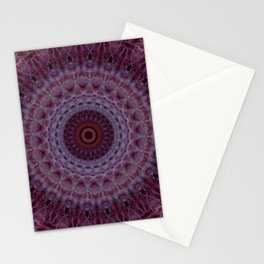 Detailed mandala in violet,purple and red tones Stationery Cards
