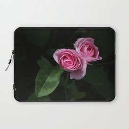 Pink and Dark Green Roses on Black Laptop Sleeve