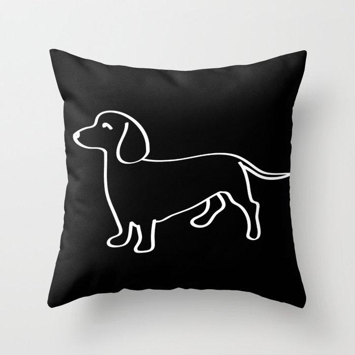 Doxie Love White Throw Pillow