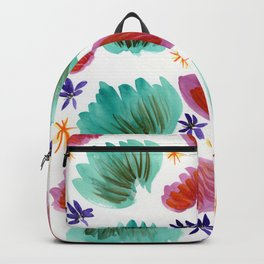 Teal and Pink Watercolor Pattern Backpack