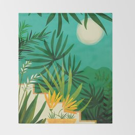 Exotic Garden Nightscape / Tropical Night Series #2 Throw Blanket