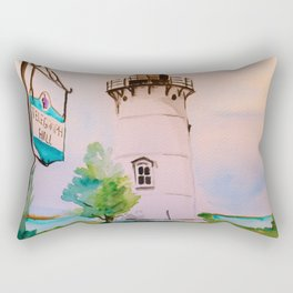 East Chop (Telegraph Hill) Lighthouse Martha's Vineyard Watercolor Rectangular Pillow