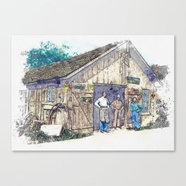 1900 - Samuel Reish (1858-1945) [Wearing Apron] and his Blacksmith Shop, Morrisonville, Illinoi wate Canvas Print