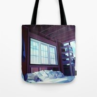 cabin pressure Tote Bags featuring Cabin by Kiana