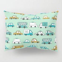 Cars trucks buses city highway transportation illustration cute kids room gifts Pillow Sham