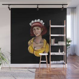 Waitress Portrait - Black Background Wall Mural
