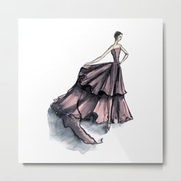 Audrey Hepburn in Pink dress vintage fashion Metal Print