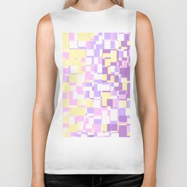 Abstract Geometric pixels with Unicorn Colors design Biker Tank