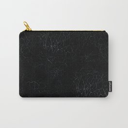 Black Crackling Leather-Look Carry-All Pouch