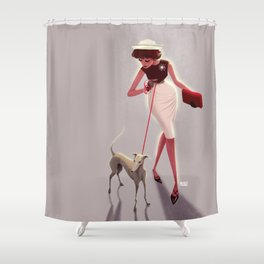 50s dogwalker  Shower Curtain