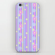 Retro . Lilac striped floral pattern . iPhone & iPod Skin