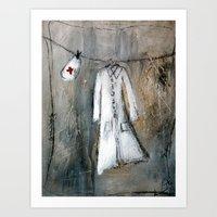 nurse Art Prints featuring nurse by woman