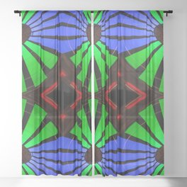 Green Blue Red Carnival Ride Sheer Curtain