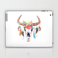 Watercolor bull skull with flowers and feathers vector Laptop & iPad Skin
