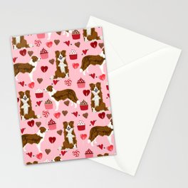 Border Collie red coat cupcakes valentines hearts dog breed pet friendly gifts for collie lovers Stationery Cards